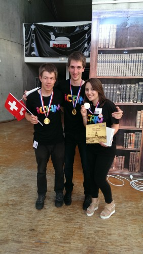 µWINDfon Team, after winning a first prize. L-R  Adrian Sarbach (EPFL), Pius Theiler (ETHZ), Ricarda Nebling (ETHZ)
